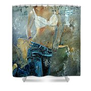 Young Girl In Jeans  Shower Curtain