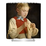 Young Girl Knitting Shower Curtain