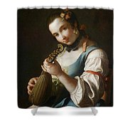 Young Girl Playing Musical Instrument Shower Curtain