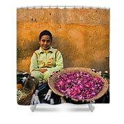 Young Girl Selling Rose Petals In The Medina Of Fes Morroco Shower Curtain