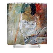 Young Girl Sitting Shower Curtain