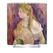 Young Girl With A Fan Shower Curtain