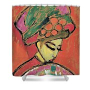Young Girl With A Flowered Hat By Alexei Jawlensky Shower Curtain