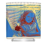 Young Girl With Blue Eyes Shower Curtain