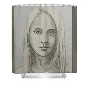 Young Girl With Long Hair Shower Curtain