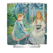 Young Girls At The Window Shower Curtain by Berthe Morisot