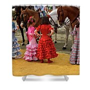 Young Girls In Flamenco Dresses Looking At Horses At The April F Shower Curtain