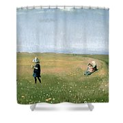 Young Girls Picking Flowers In A Meadow Shower Curtain