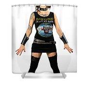 Young Heavy Metal Female Punk Fan Standing Tall With Horns Pierc Shower Curtain