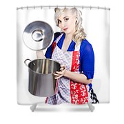 Young Housewife Lifting Lid On A Home Cooking Pot Shower Curtain