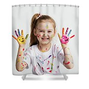 Young Kid Showing Her Colorful Hands Shower Curtain