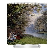 Young Ladies By A River Shower Curtain by John Edmund Buckley