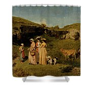 Young Ladies Of The Village By Gustave Courbet, 1851-1852 Shower Curtain