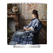 Young Lady At The Fireplace Shower Curtain