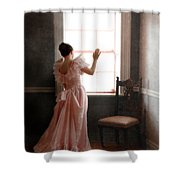 Young Lady In Pink Gown Looking Out Window Shower Curtain