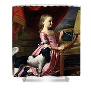 Young Lady With A Bird And A Dog Shower Curtain