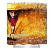 Young Man In Hooded Sweatshirt On Grunge Wall Shower Curtain