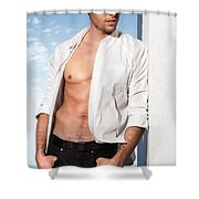 Young Man In Unbuttoned Shirt Shower Curtain