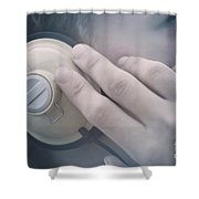 Young Man Listening To Music Headphones Shower Curtain
