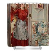 Young Man On A Door French Room, Emilio Shower Curtain