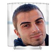 Young Man Portrait Shower Curtain