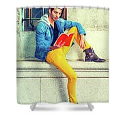 Young Man Reading Red Book, Sitting On Street Shower Curtain
