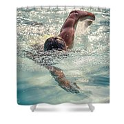 Young Man Swimming Shower Curtain