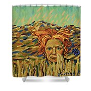 Young Man With A Corn Flower Shower Curtain