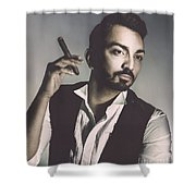 Young Man With Cigar Shower Curtain