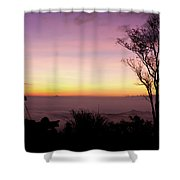 Young Men Silhouette Taking Photos About Landscape Outdoor  Shower Curtain