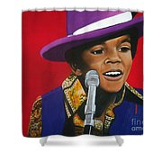 Young Michael Jackson Singing Shower Curtain