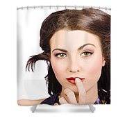 Young Model With Bright Make-up And Clean Nails Shower Curtain