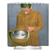 Young Monk Begging Alms And Rice, Thailand Shower Curtain