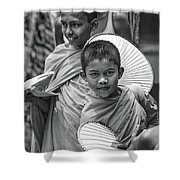 Young Monks 2 Bw Shower Curtain