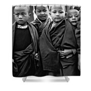 Young Monks II Bw Shower Curtain