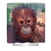 Young Orangutan Shower Curtain