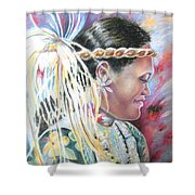 Young Polynesian Mama Shower Curtain