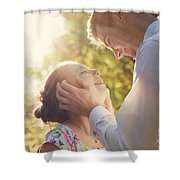 Young Romantic Couple Flirting In Sunshine Shower Curtain