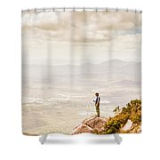 Young Traveler Looking At Mountain Landscape Shower Curtain