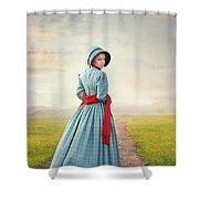 Young Victorian Woman On A Country Path Shower Curtain