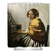 Young Woman At A Virginal Shower Curtain
