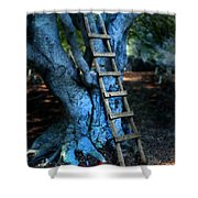 Young Woman Climbing A Tree Shower Curtain