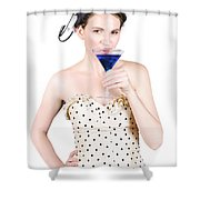 Young Woman Drinking Alcoholic Beverage Shower Curtain