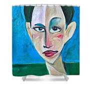 Young Woman Green Field Shower Curtain