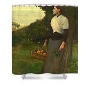 Young Woman In A Garden Of Oranges Shower Curtain