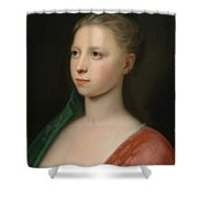 Young Woman In A Red Fur Trimmed Coat Shower Curtain