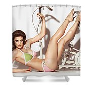 Young Woman In A Swimsuit Posing With Exercise Bike Shower Curtain
