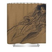 Young Woman In An Armchair Shower Curtain