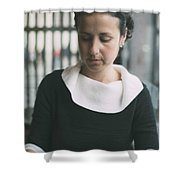 Young Woman In Bar Shower Curtain
