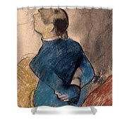 Young Woman In Blue Shower Curtain